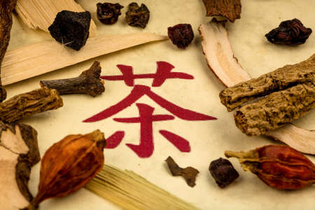 naturopaths: ingredients for a cup of tea in traditional chinese medicine. cure of diseases by alternative methods. Stock Photo
