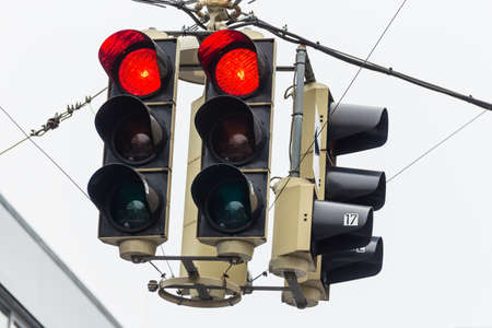 standstill: a traffic light with red light. symbolic photo for maintenance, economic, failure