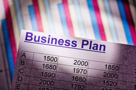a business plan to start a business. ideas and strategies for business start-up. Stock Photo