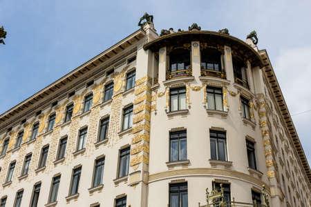 wagner: the vienna lines houses on naschmarkt. architecture of otto wagner in vienna, austria
