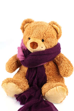 flu: a bear of plush with a thermometer in his mouth. symbolic photo for chill, flu and fever Stock Photo