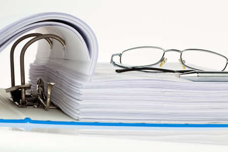 file folder: a file folder with documents and documents. storage contracts. Stock Photo