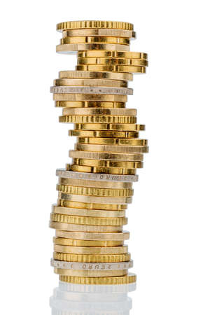 nestegg: stack of money coins against white background, photo icon for saving, thrift, small savers