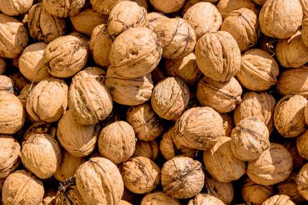 hardness: many walnuts close-up, solve symbol of problems, fullness, hardness