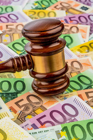 legislative: gavel and euro banknotes. symbol photo for costs in court, rule of law and auctions Stock Photo