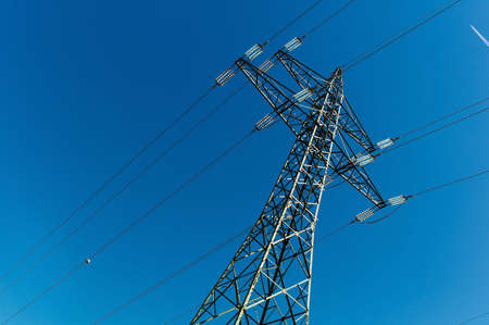 electricity grid: electricity pylon, symbolfoto for electricity generation, supply and electricity grid