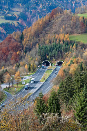 pkw: on the tauern motorway in austria, there are many tunnels
