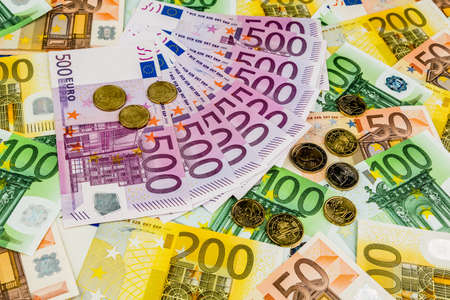 assessment system: many different euro bills. symbolic photo for wealth and investment.