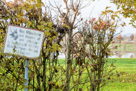 sign hundeverbot zone symbolizing prohibitions antiepidemic, sperrgebiet Stock Photo