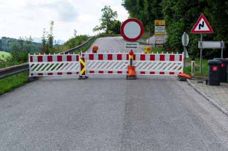 road closed: a road is closed due to construction work Stock Photo