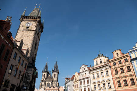 czechia: prague, czech republic ,. old town square and old town hall.