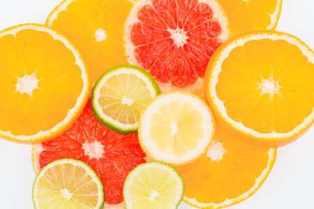 decreasing: slices of an orange. symbolic photo for healthy vitamins through fresh fruit