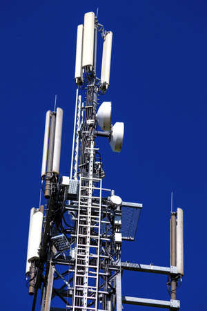 telephony: a transmission tower for mobile and cell phones in germany. german mobile station.