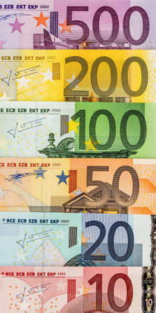 household money: many different euro bills. symbolic photo for wealth and investment.