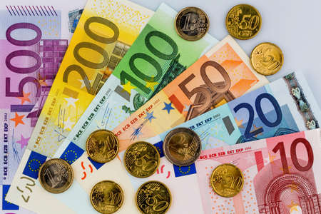 adjacent: euro banknotes are adjacent. symbolic photo for earnings, sales and cash Stock Photo