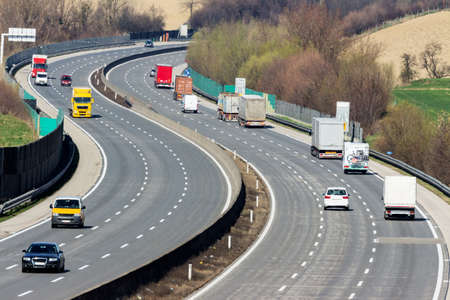 toll: trucks on the highway. road transport for goods.