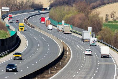 fcc: trucks on the highway. road transport for goods.