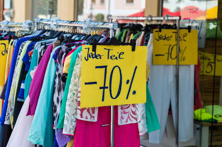 bargain for: the sale has already begun. good for bargain hunters. Stock Photo
