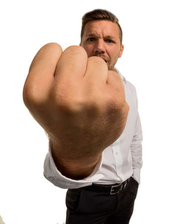 criminal act: man showing his fist
