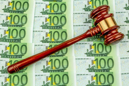 legislator: gavel and euro banknotes. symbol photo for costs in court, rule of law and auctions Stock Photo