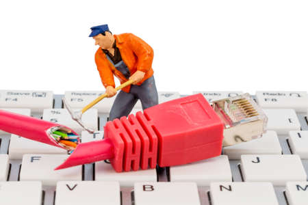 grope: workers, network connector, keyboard, symbol photo for internet, fault, maintenance, problem solving, Stock Photo