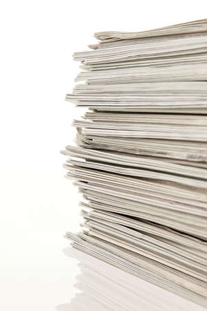 pile of newspapers: old newspapers and magazines on a pile Stock Photo