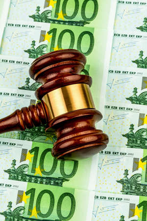 auctions: gavel and euro banknotes. symbol photo for costs in court, rule of law and auctions Stock Photo
