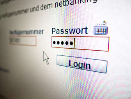 password: on the monitor of a computer, the password is when logging in online banking queried ..
