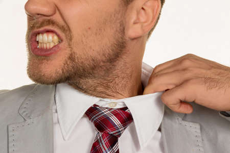 listless: a man (manager) feels concentrated. the collar bursts.