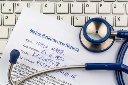 klinik: a living will in german. instructions for the doctor or the hospital in the event of terminal illness. Stock Photo