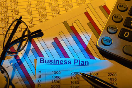reestablishment: a business plan to start a business. ideas and strategies for business start-up. Stock Photo