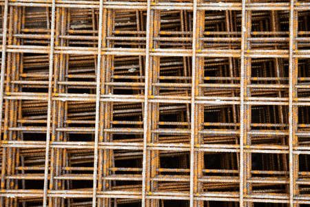 construction mesh: at a construction site are steel mesh to reinforce the bentonplatten Stock Photo