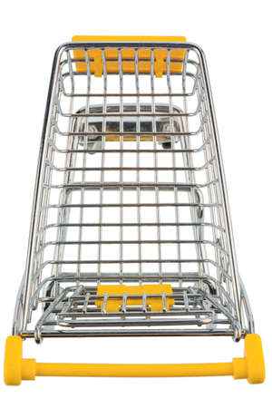 grocers: an empty shopping cart on a white background. symbolic photo for shopping Stock Photo