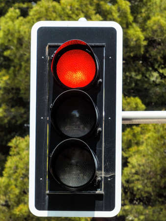 control panel lights: traffic light with red light, symbol photo for Stock Photo