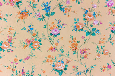old wallpaper: an old retro wallpaper with a floral pattern.
