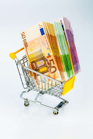 consumerist: euro bank notes in a shopping cart, photo icon for purchasing power, shopping, money printing and inflation
