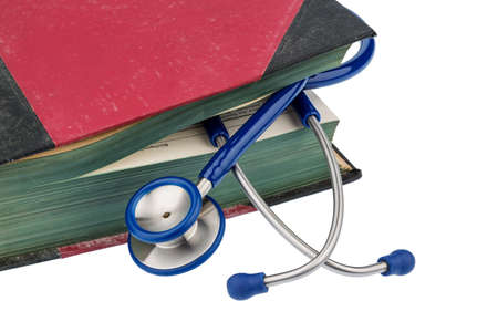 quite time: book and stethoscope, symbol photo for bungling, doctors mistakes and expertise Stock Photo