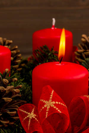 advent time: an advent wreath for christmas promises a romantic mood in the silent advent. Stock Photo