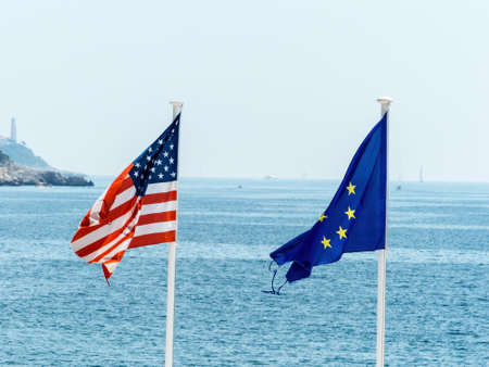 politically: flags of the european union and the united states, symbolfoto for partnership, diplomacy, foreign policy