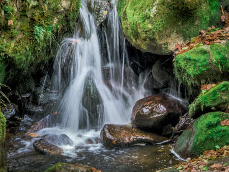 relaxen: a creek with rocks and running water. landscape experience in nature.