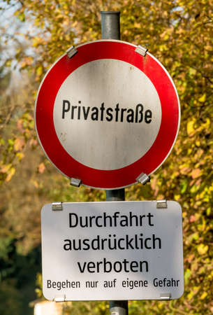 delimit: shield private road ban, symbol of prohibitions, privately owned, fine Stock Photo