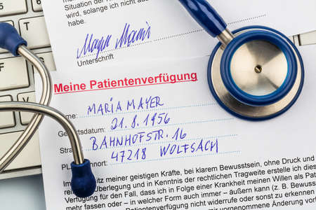 will power: an advance in german. instructions for the doctor or the hospital in the event of a terminal illness. Stock Photo