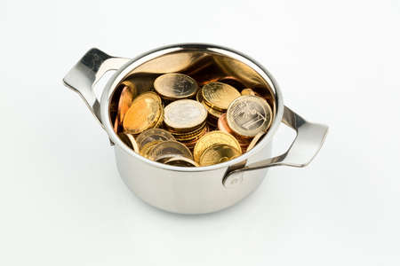 sovereign: a cooking pot, to häfte filled with euro coins photo icon for sovereign debt and financial requirements