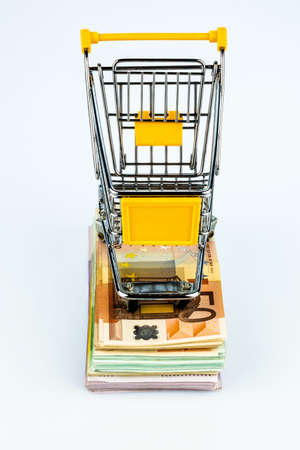 purchasing power: shopping cart stands on banknotes, symbol photo for shopping, purchasing power, money printing and inflation Stock Photo