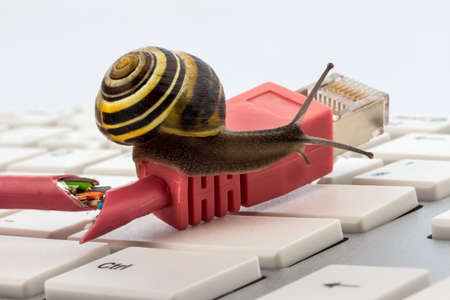 slower: symbolic photo for slow internet connection. broadband connection is not available everywhere.