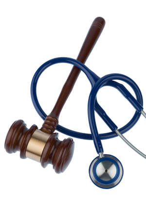 physicans: gavel and stethoscope, symbol photo for bungling and medical error Stock Photo