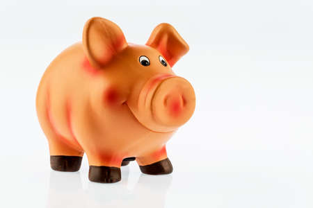 savers: a piggy bank on a white background. profitability when investing money. interest for savers