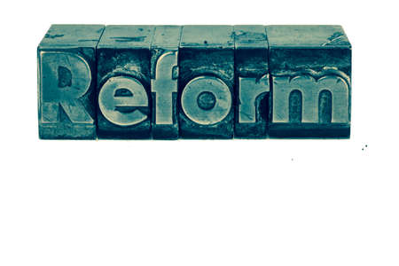 reformer: the word reform in lead letters written. photo icon for quick correspondence Stock Photo