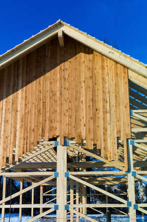 subsidy: wooden roof construction, symbol photo for home, house building, and house financing Stock Photo