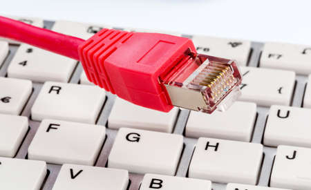 grope: network cable on keyboard, symbol photo for flatrate, e-commerce, global communications